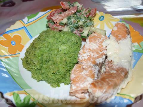 Семга с брокколи