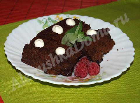 Шоколадный торт Брауни. Готовое блюдо.