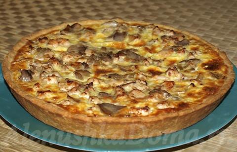 пирог с картошкой грибами и курицей